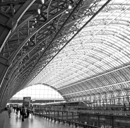 eurostar: St Pancras Station roof with a eurostar train in the background  Photo taken on the 22nd May 2012