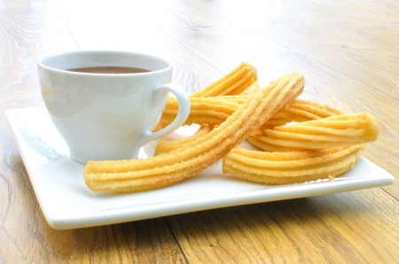 churros: Churros with chocolate