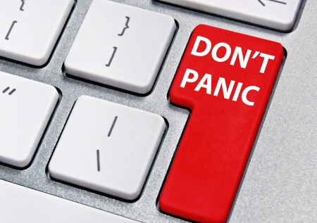 panic button: Don t panic Stock Photo
