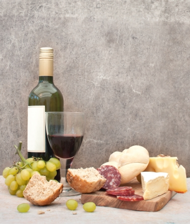 chopping board: Cheese and wine Stock Photo