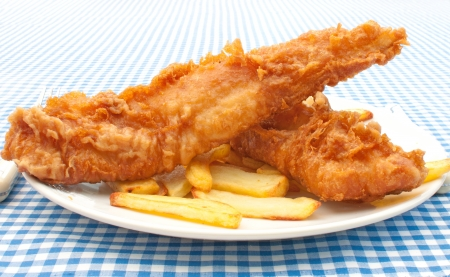 deep fried: Fish and chips Stock Photo