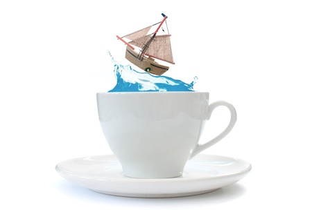 teacups: Storm in a teacup Stock Photo
