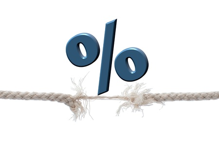 Percentage sign on a breaking rope Stock Photo - 15998057