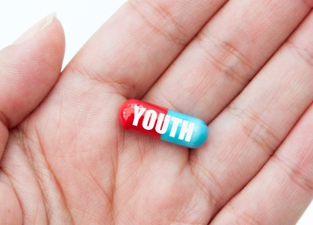anti aging: Pill of youth Stock Photo