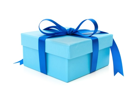 blue box: Gift box  Stock Photo