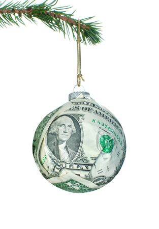Money bauble made of dollar banknotes  photo