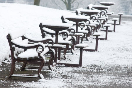 Snow covered park benches  Stock Photo - 16492233