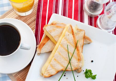 Toasted cheese sandwich with coffee Stock Photo - 16720387