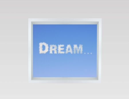 Dream cloud through an open window photo