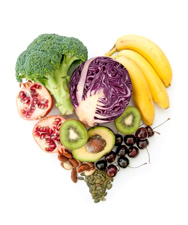 Super fruits and vegetables in a heart shape Stock Photo