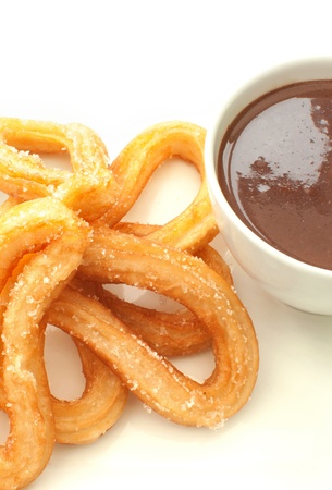 Spanish churros donuts with hot chocolate photo