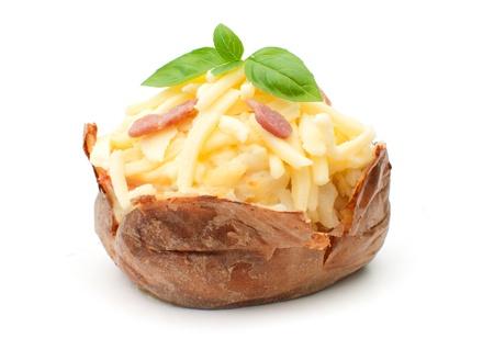 jacket potato: Jacket oven baked potato with melting cheese