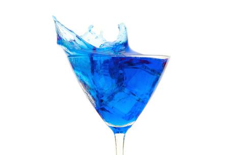cooled: Blue cocktail splash  Stock Photo