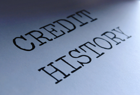 credit report: Closeup on credit history heading  Stock Photo