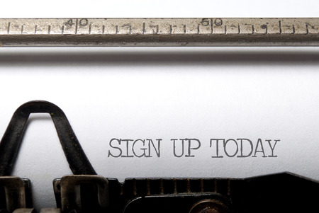 signup: Sign up printed on a typewriter