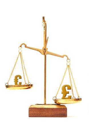 outweigh: Euro versus the pound  Stock Photo