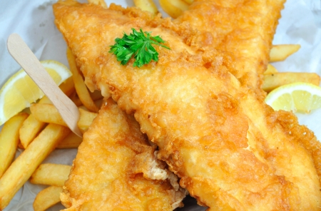 british foods: Fish and chips takeaway meal Stock Photo