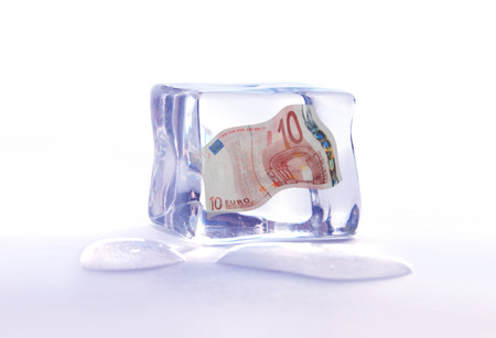 Frozen euro banknote photo