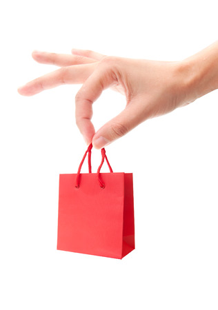 christmas promotion: Shopping gift bag Stock Photo