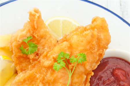 british food: Traditional english fish and chips