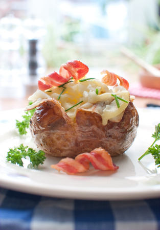 baked potato: Baked potato with bacon and cheese