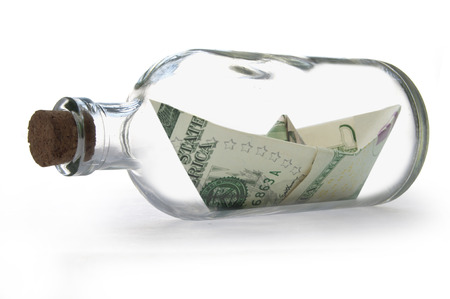 message bottle: Dollar banknotes message bottle  Stock Photo