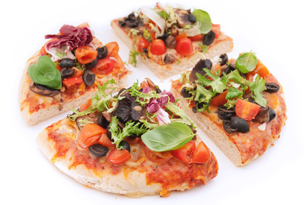 quartered: Pizza  Stock Photo