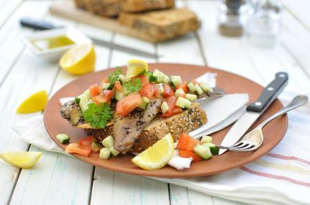wholegrain mustard: Mackerel fish  Stock Photo
