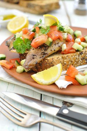 wholegrain mustard: Smoked mackerel fish