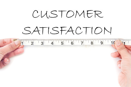 satisfied customer: Measuring customer satisfaction Stock Photo