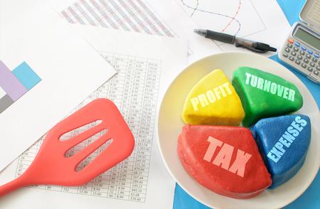 taxation: Financial pie chart  Stock Photo