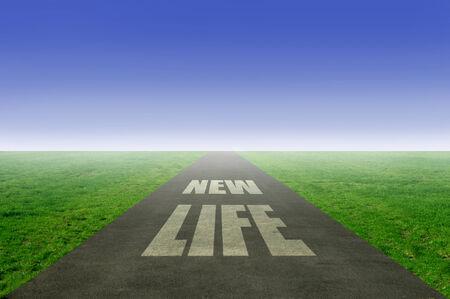 new direction: New life, fresh start  Stock Photo