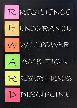 Reward acronym handwritten on a blackboard