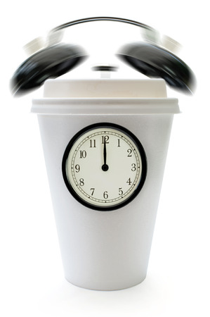 taking a break: Taking a break concept with clock face and ringing bells around a plastic coffee cup
