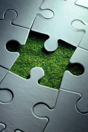 sustentabilidad: Hierba pieza del rompecabezas