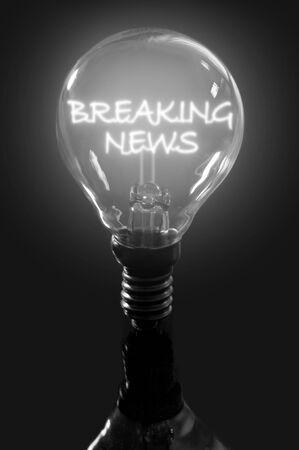 news update: Breaking news illuminated text Stock Photo