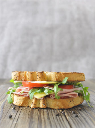 Deli: Gourmet ham and cheese sandwich with copy space