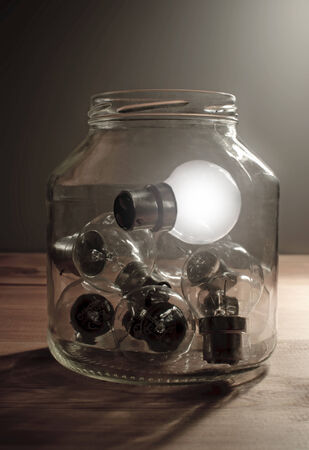 a jar stand: Stand out from the crowd, ideas concept