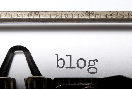 Blog printed on an old typewriter 스톡 콘텐츠