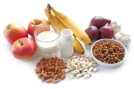 Probiotische (oder präbiotische) reiche Lebensmittel einschließlich Hülsenfrüchte, Nüsse, Obst und Milchprodukte, gut für Immunität und Darm