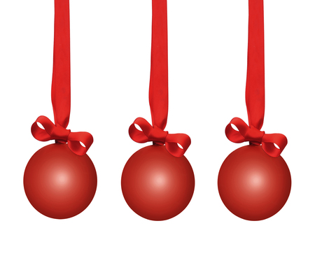 d cor: Red christmas baubles Stock Photo