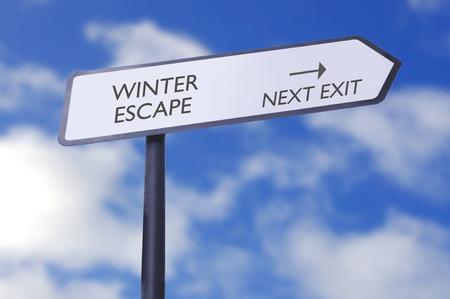 winter escape: Winter escape street sign with next exit arrow
