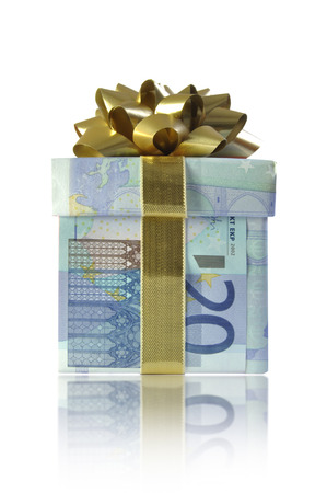 christmas profits: Euro money gift box Stock Photo