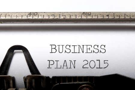 Business plan 2015 printed on an old typewriter photo