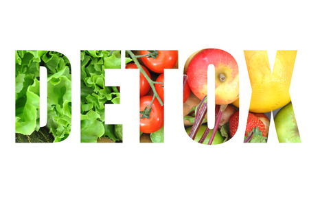 Detox text made from fruits and vegetables photo