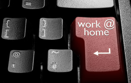 enter key: Computer enter key with work at home