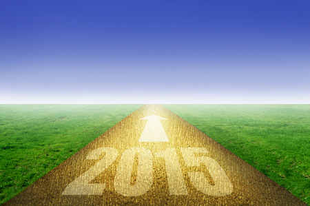 2015 gold paved road Stock Photo