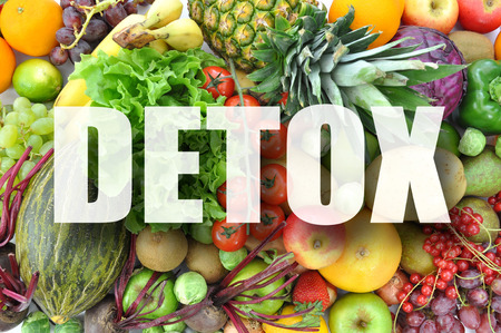 detox: Detox text over assorted fruits and vegetables