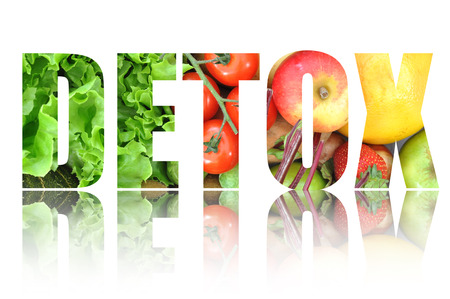 Detox text made from fruits and vegetables Stock Photo