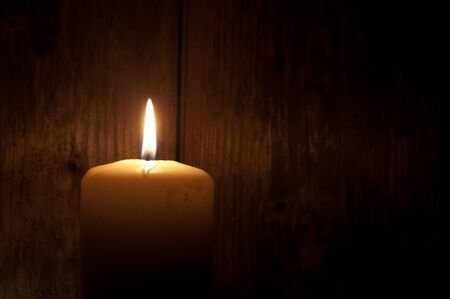 christmas prayer: Candle with space for text Stock Photo